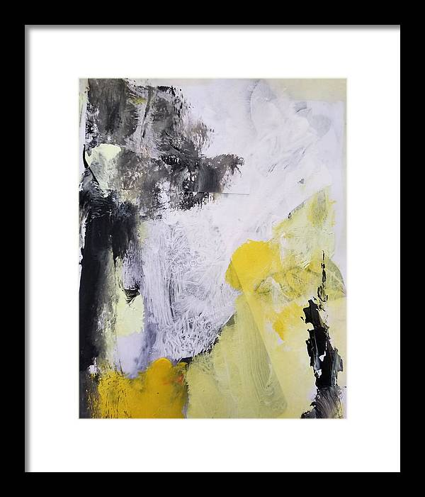 Abstract Framed Print featuring the painting Yellow Winter by Patricia Byron