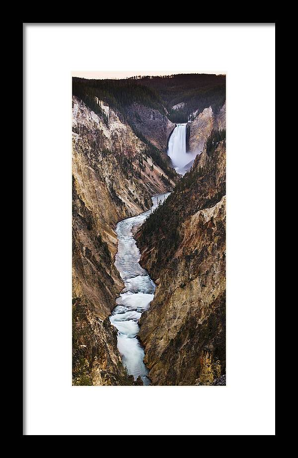 River Framed Print featuring the photograph Yellowstone River Falls by Chad Davis