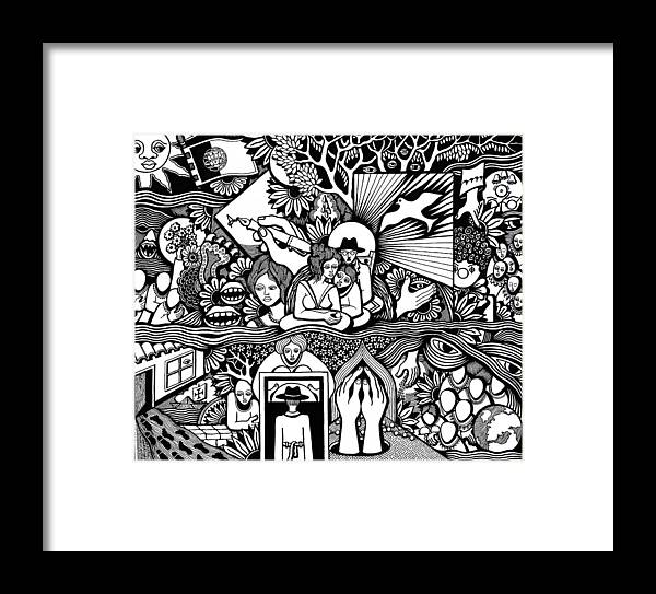 Drawing Framed Print featuring the drawing Yes It's Me I Myself What Turned Out To Be by Jose Alberto Gomes Pereira