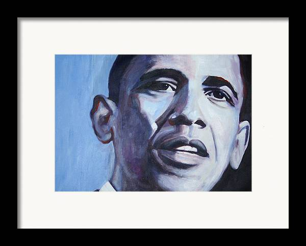 Barack Obama Framed Print featuring the painting Yes We Can by Fiona Jack