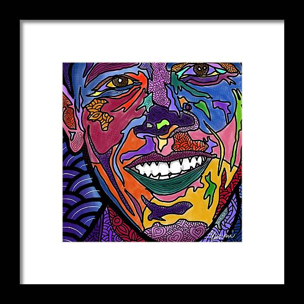 President Obama Framed Print featuring the digital art Yes We Can Obama by Marconi Calindas