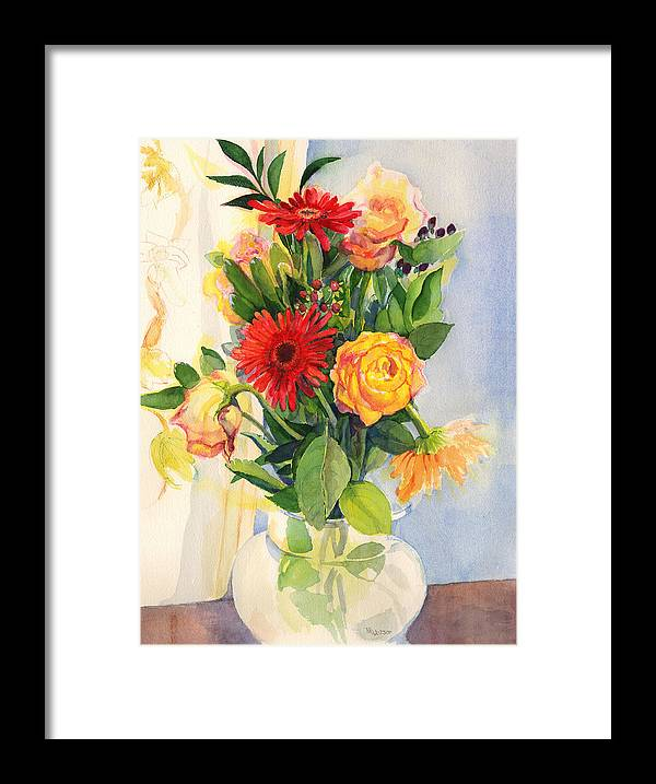 Watercolor Flowers Framed Print featuring the painting Yesterdays Beauties by Nancy Watson