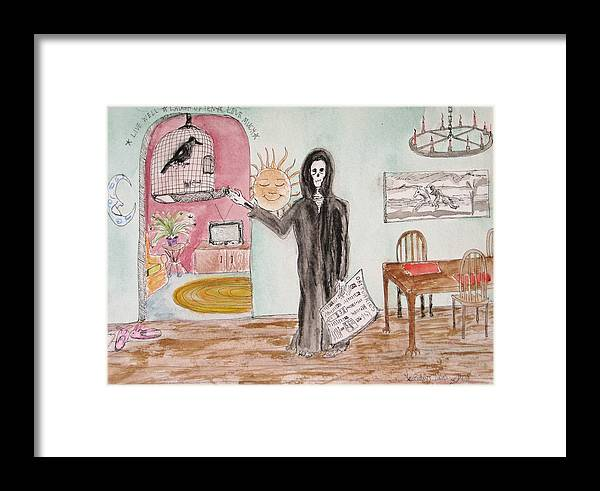 Bird Birdcage Darkestartist Death Home Humor Ink Watercolor Watercolour Darkest Artist Framed Print featuring the painting Yesterdays News by Darkest Artist