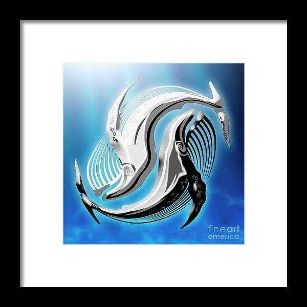 John Knott Framed Print featuring the digital art Yin And Yang Whale by John Knott