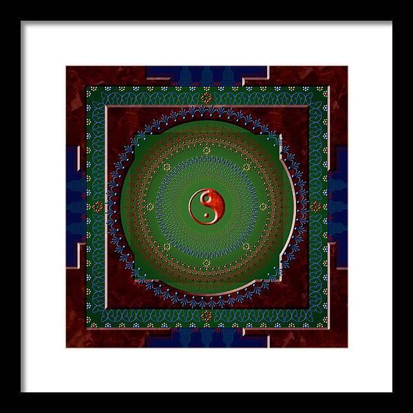 Mandala Framed Print featuring the digital art Yin Yang by Stephen Lucas