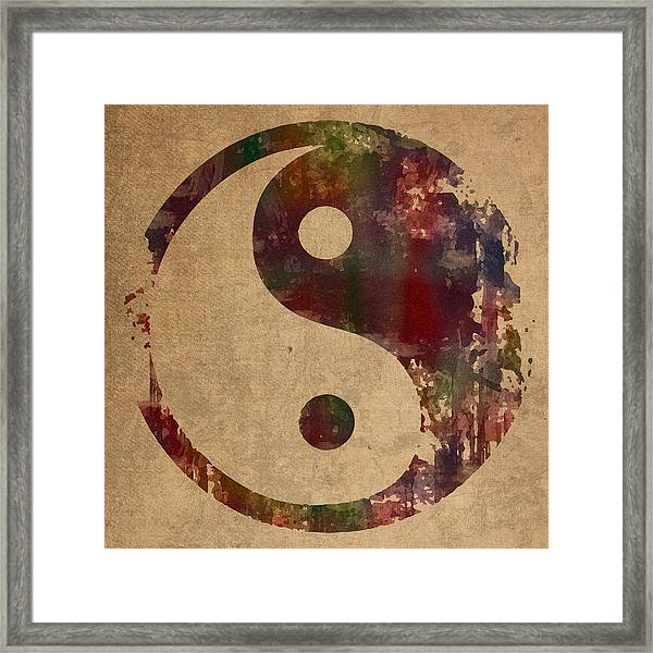 Yin Yang Symbol Distressed Grunge Watercolor Painting On Worn Canvas