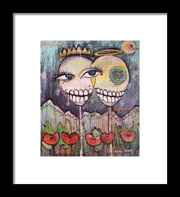 Skull Heads Framed Print featuring the painting Yo Soy La Luna by Laurie Maves ART
