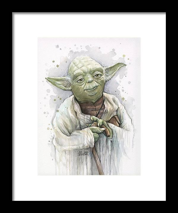 Yoda Framed Print featuring the painting Yoda by Olga Shvartsur