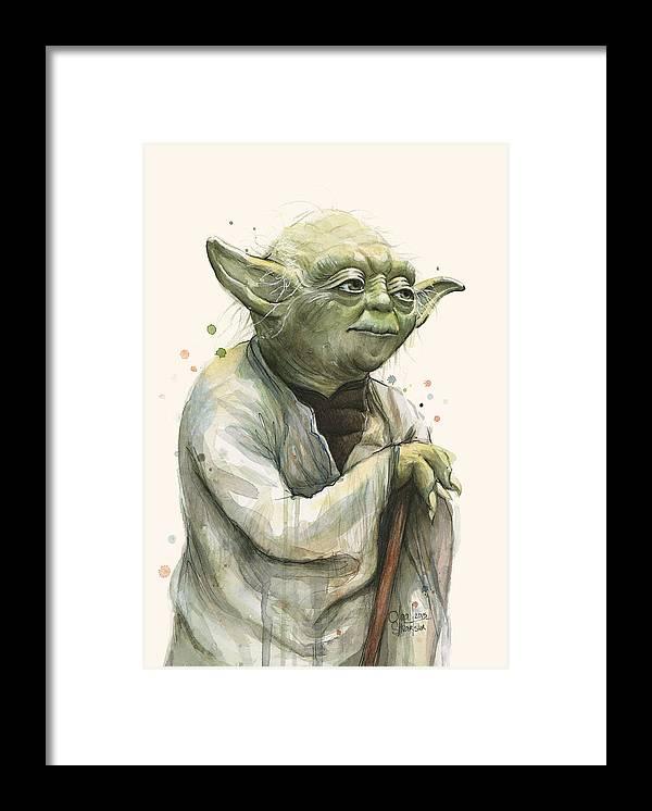 Yoda Framed Print featuring the painting Yoda Portrait by Olga Shvartsur