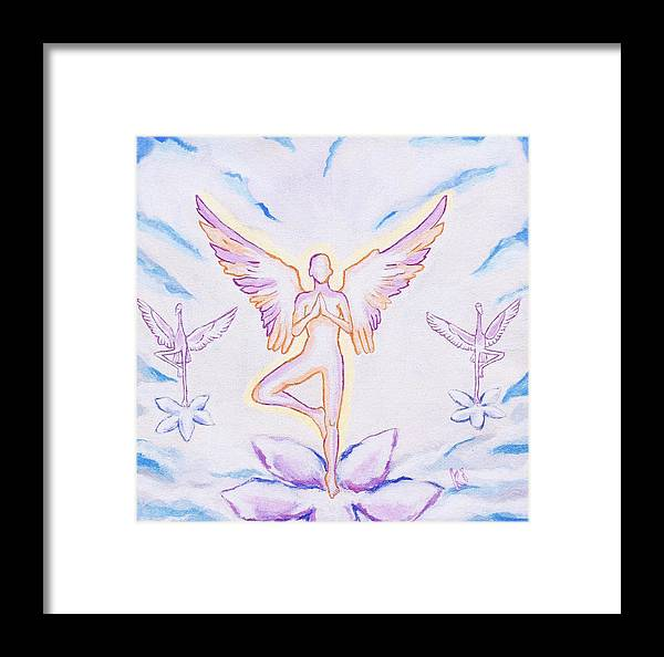 Giclee Framed Print featuring the painting Yoga Angels by Sonya Ki Tomlinson