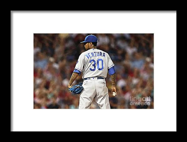 a5a2b86d258 Yordano Ventura Framed Print featuring the mixed media Kansas City Royals