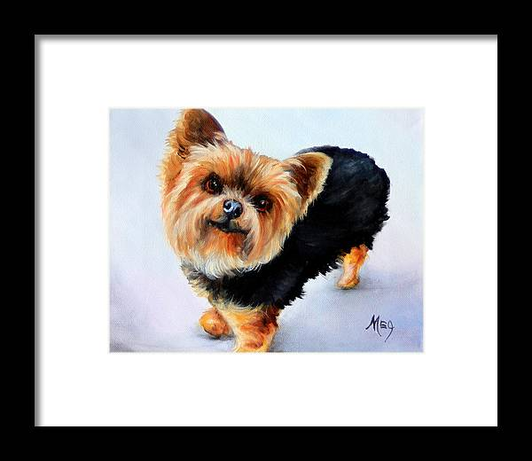 Oil Paintings Framed Print featuring the painting Yorkie by Meg Keeling