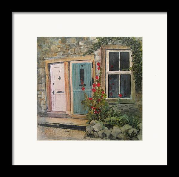 Yorkshire Framed Print featuring the painting Yorkshire Cottages by Victoria Heryet