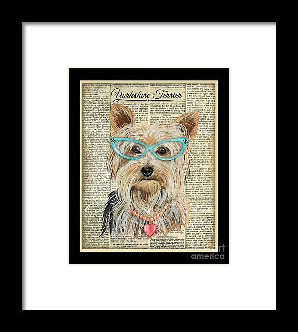 Yorkshire Terrier Framed Print featuring the painting Yorkshire Terrier-jp3856 by Jean Plout