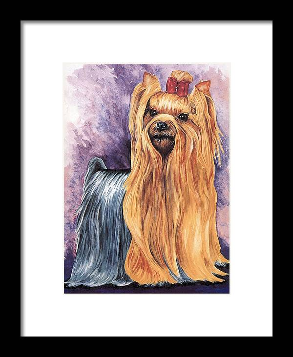 Yorkshire Terrier Framed Print featuring the painting Yorkshire Terrier by Kathleen Sepulveda