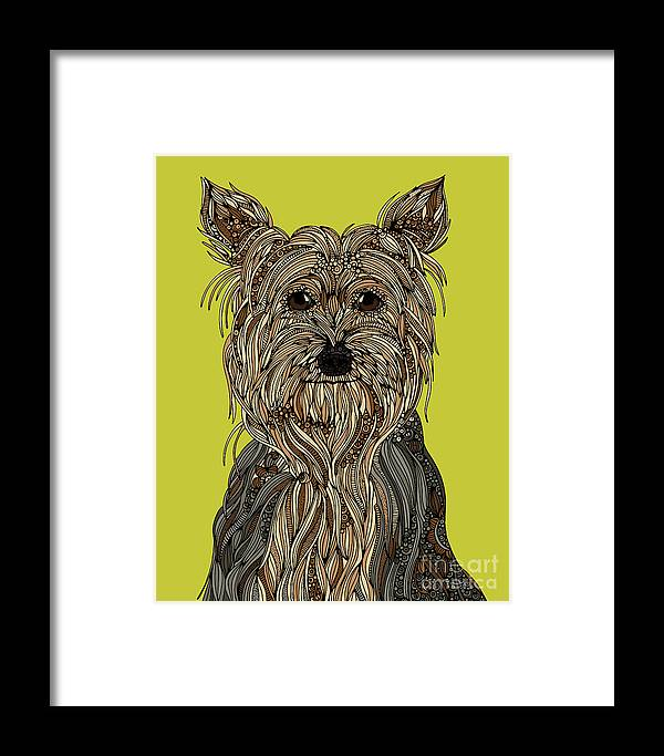 Yorkshire Terrier Framed Print featuring the digital art Yorkshire Terrier by MGL Meiklejohn Graphics Licensing