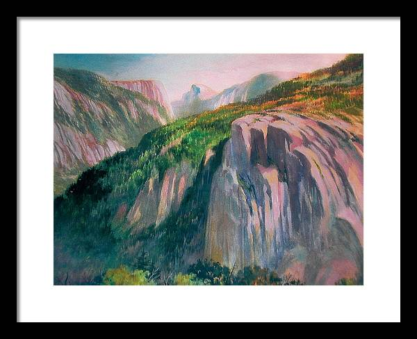 Yosemite;national Park;mountains;landscape;watercolor Painting;water Media; Framed Print featuring the painting Yosemite by Don Getz