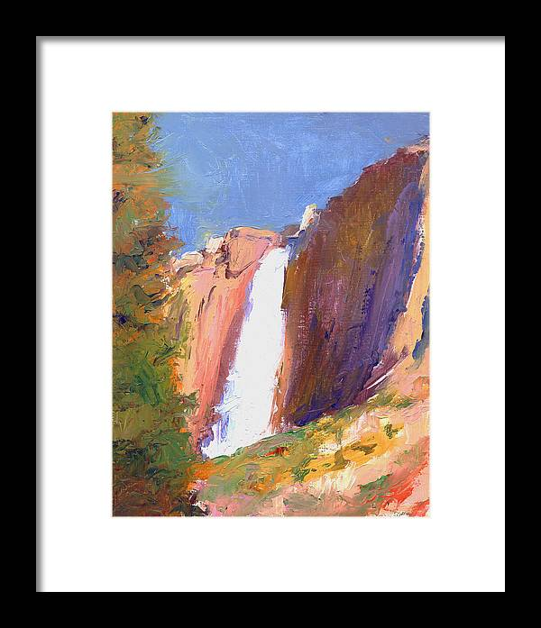 Landscape Framed Print featuring the painting Yosemite Falls by Timothy Chambers