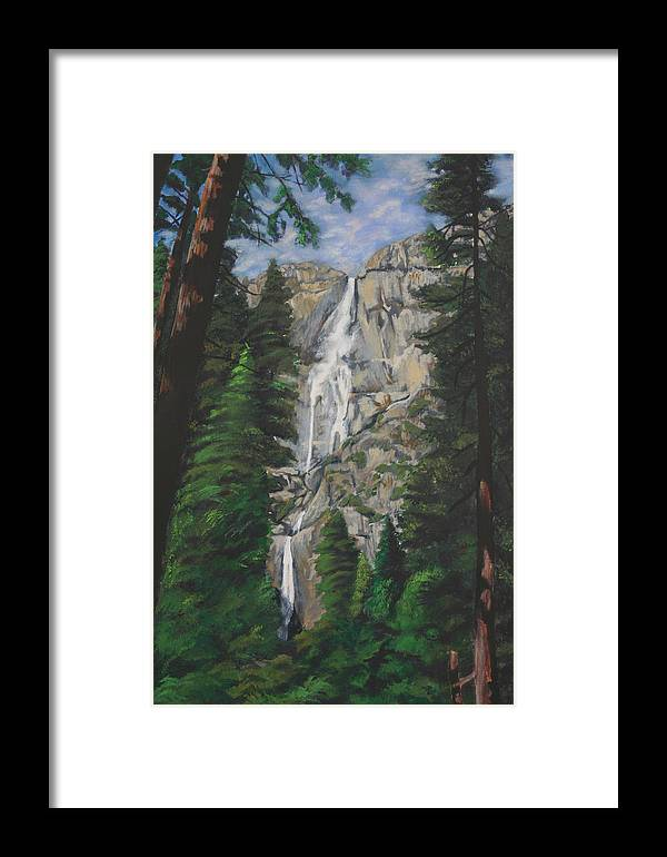 Landscape Framed Print featuring the painting Yosemite Falls by Travis Day