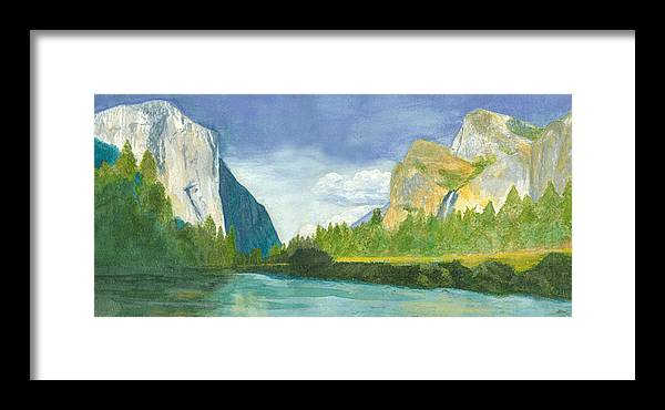 Yosemite Mountains Framed Print featuring the painting Yosemite by Jo Baby
