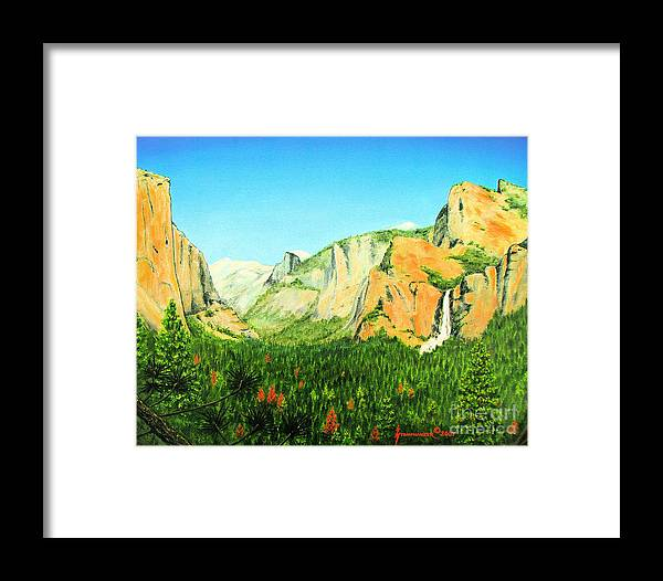 Yosemite National Park Framed Print featuring the painting Yosemite National Park by Jerome Stumphauzer