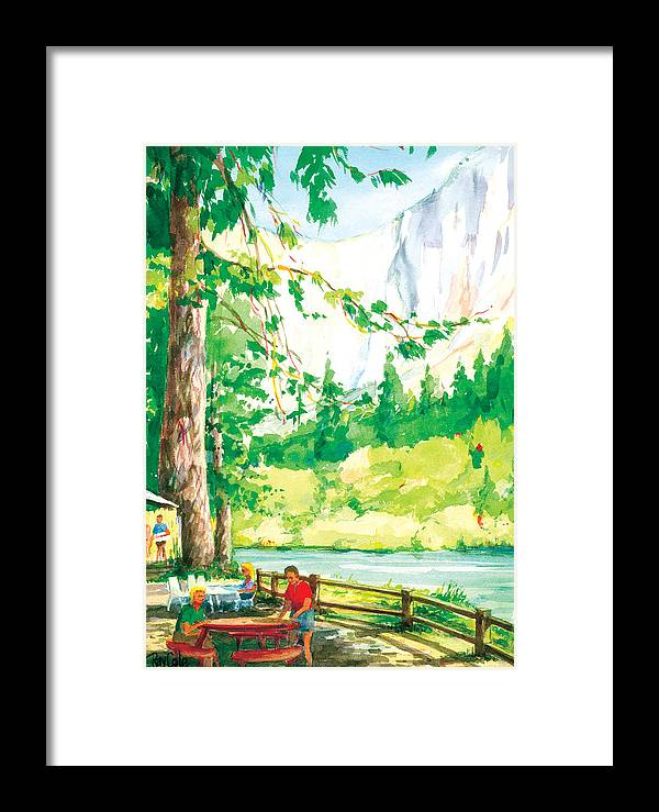 Yosemite Framed Print featuring the painting Yosemite Picnic by Ray Cole