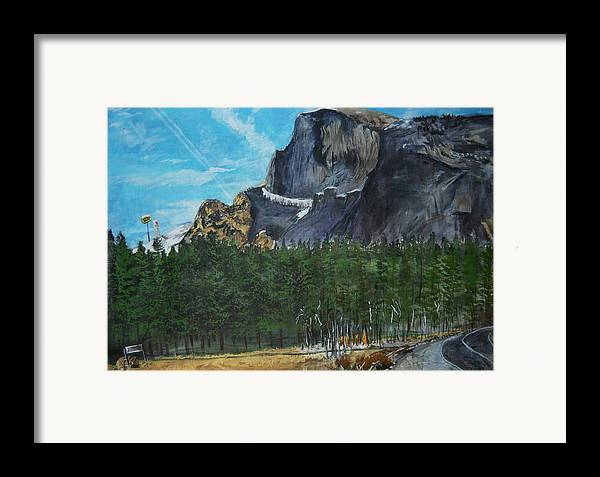 Half Dome Framed Print featuring the painting Yosemite Political Statement by Travis Day