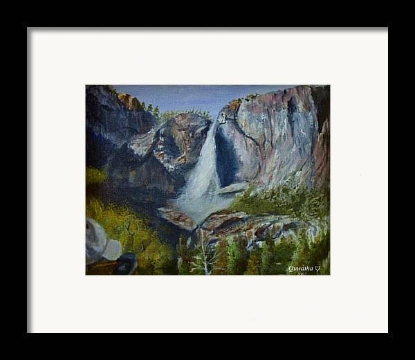 Waterfall Framed Print featuring the painting Yosemite Waterfall by Quwatha Valentine