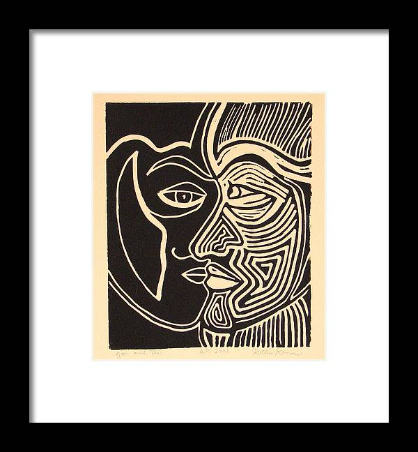 Faces Framed Print featuring the drawing You and Me by Rollin Kocsis