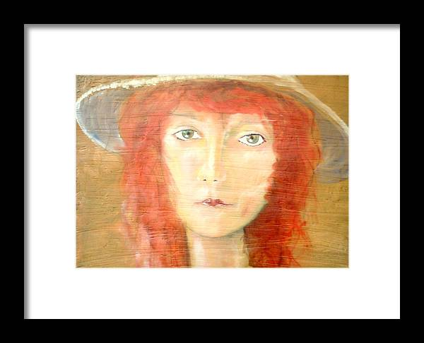 Woman Framed Print featuring the painting You Found My Hat by J Bauer