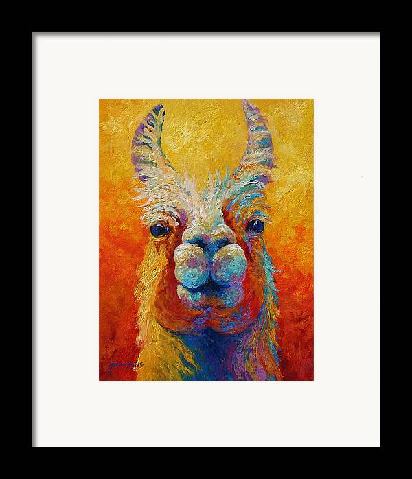 Llama Framed Print featuring the painting You Lookin At Me by Marion Rose