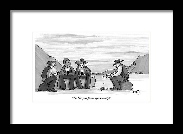 """""""you Lose Your Phone Again Framed Print featuring the drawing You lose your phone again by Julia Suits"""