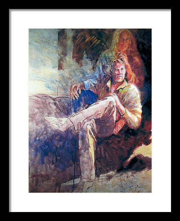 Portrait;watercolor;impressionistic Portrait;portrait; Framed Print featuring the painting Young Americans by Don Getz