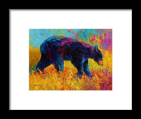 Bear Framed Print featuring the painting Young And Restless - Black Bear by Marion Rose