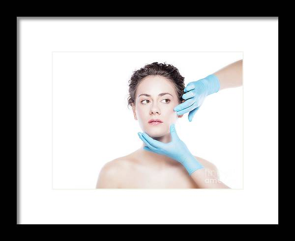 Aesthetic Framed Print featuring the photograph Young Beautiful Woman's Skin Review Before Treatment. by Michal Bednarek