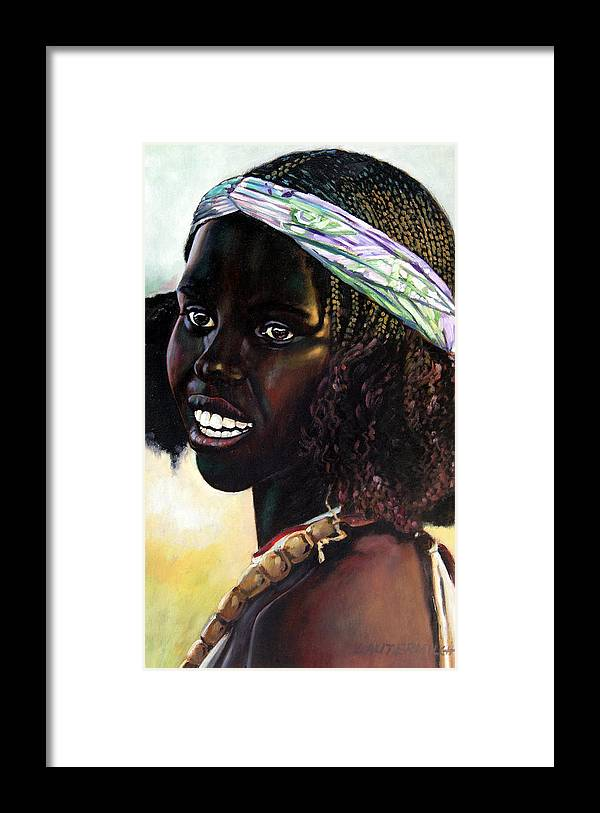 Young Black African Girl Framed Print featuring the painting Young Black African Girl by John Lautermilch