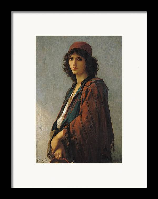 Young Bohemian Serb Framed Print featuring the painting Young Bohemian Serb by Charles Landelle