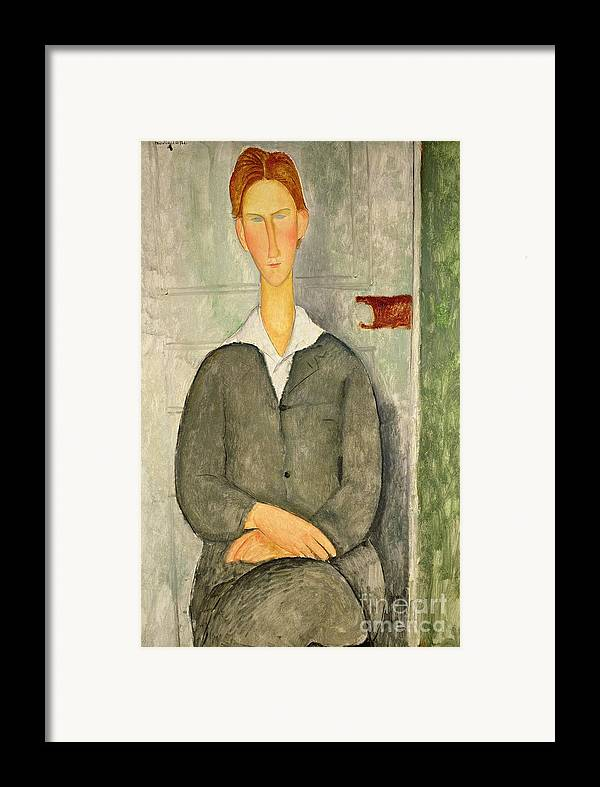 Young Framed Print featuring the painting Young Boy With Red Hair by Amedeo Modigliani