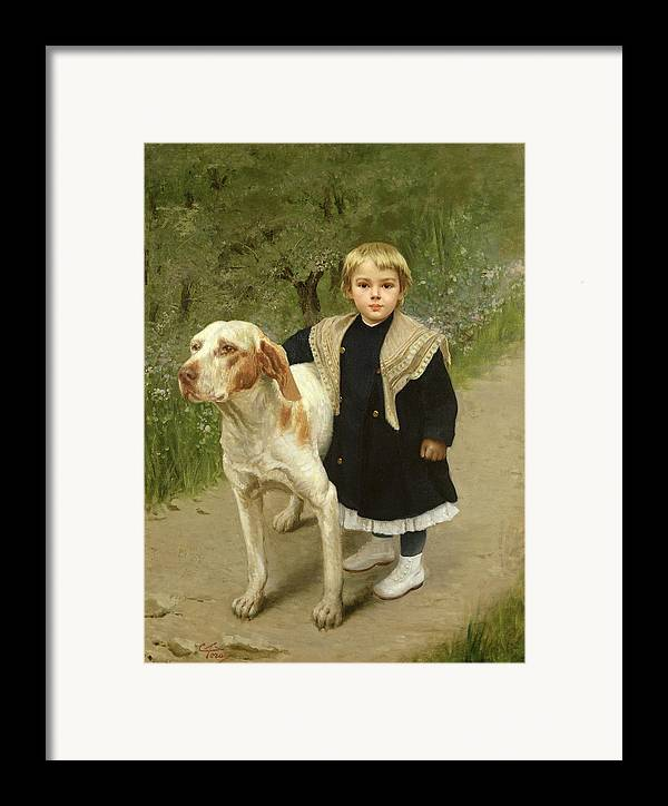 Young Framed Print featuring the painting Young Child And A Big Dog by Luigi Toro