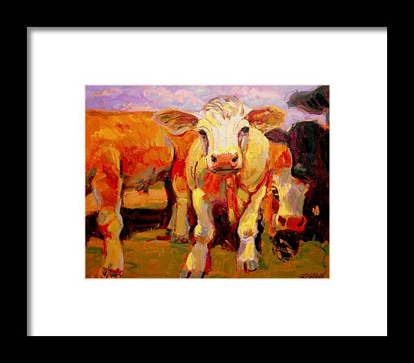 Cows Framed Print featuring the painting Young Cow by Brian Simons