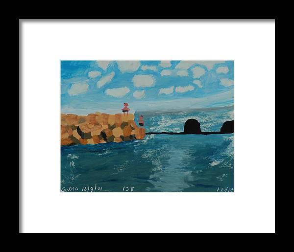 Water Framed Print featuring the painting Young Divers by Harris Gulko