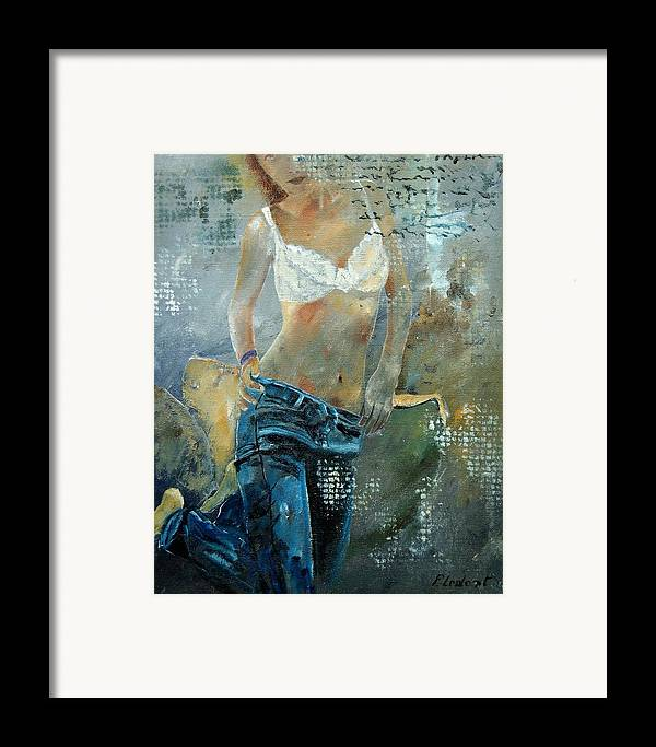 Girl Framed Print featuring the painting Young Girl In Jeans by Pol Ledent