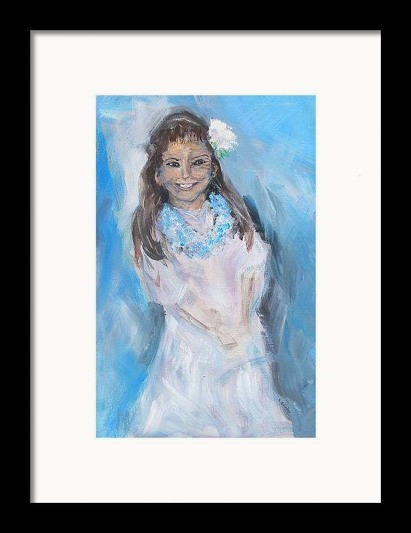 Young Girl Framed Print featuring the painting Young Girl by Lessandra Grimley