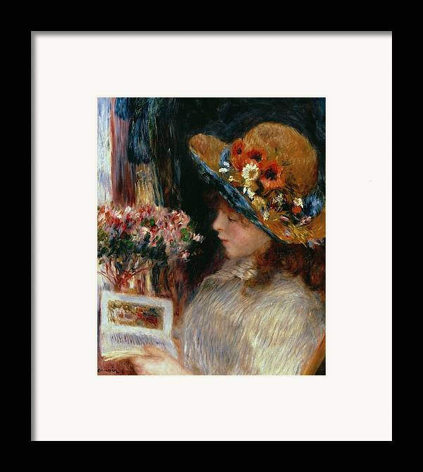 Young Girl Reading Framed Print featuring the painting Young Girl Reading by Pierre Auguste Renoir
