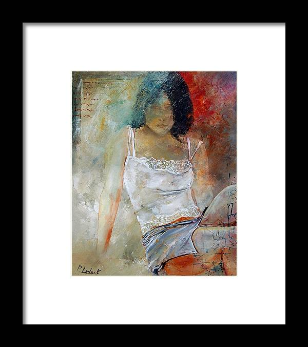 Nude Framed Print featuring the painting Young Girl Sitting by Pol Ledent