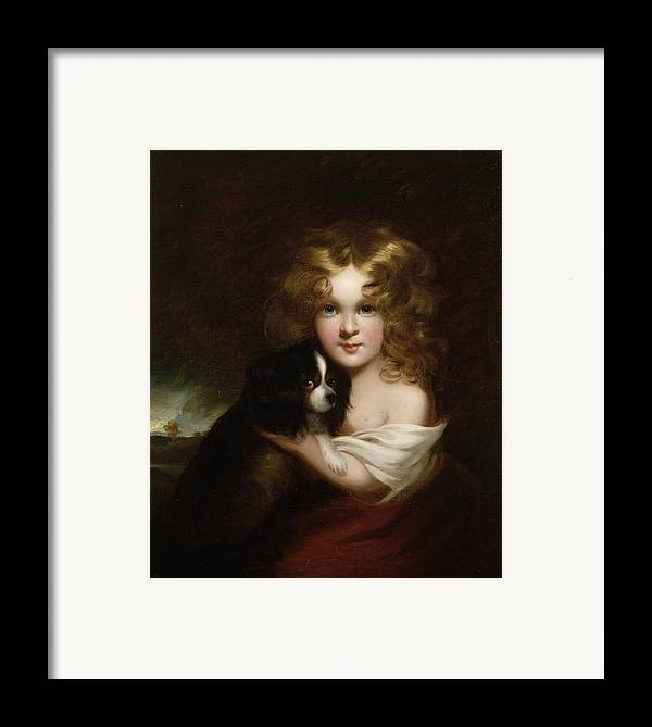 Young Framed Print featuring the painting Young Girl With A Dog by Margaret Sarah Carpenter