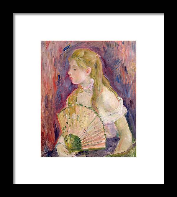 Young Framed Print featuring the painting Young Girl With A Fan by Berthe Morisot
