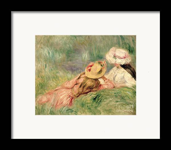 Young Framed Print featuring the painting Young Girls On The River Bank by Pierre Auguste Renoir