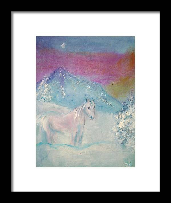 Landscape Framed Print featuring the painting Young Horse On Snowy Mountain by Michela Akers