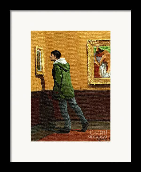Artwork Framed Print featuring the painting Young Man Viewing Art - Painting by Linda Apple